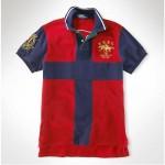 Camisa Polo Vermelho e Azul Dual Match Ralph Lauren - Cod 0067